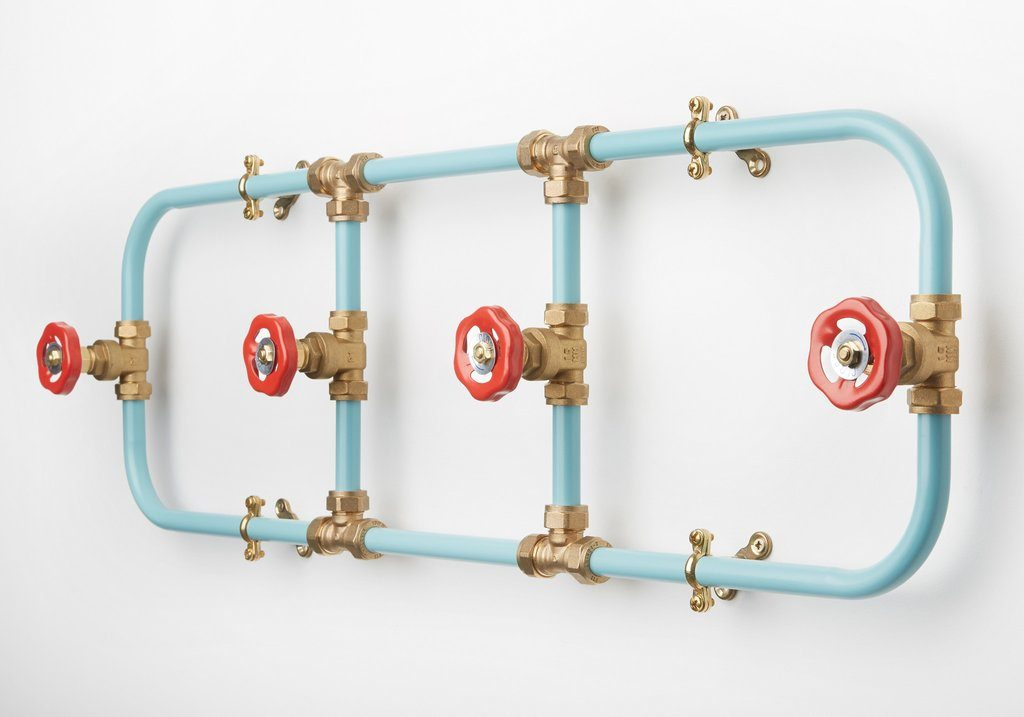 metal coat rack industrial using water pipes
