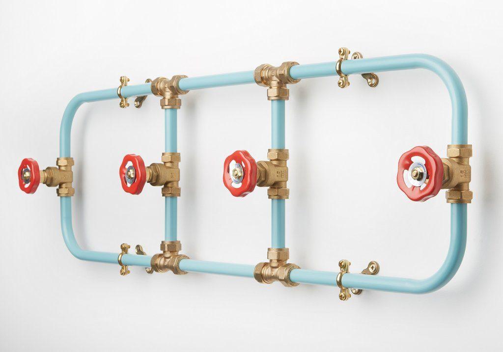 metal coat rack industrial using water pipes