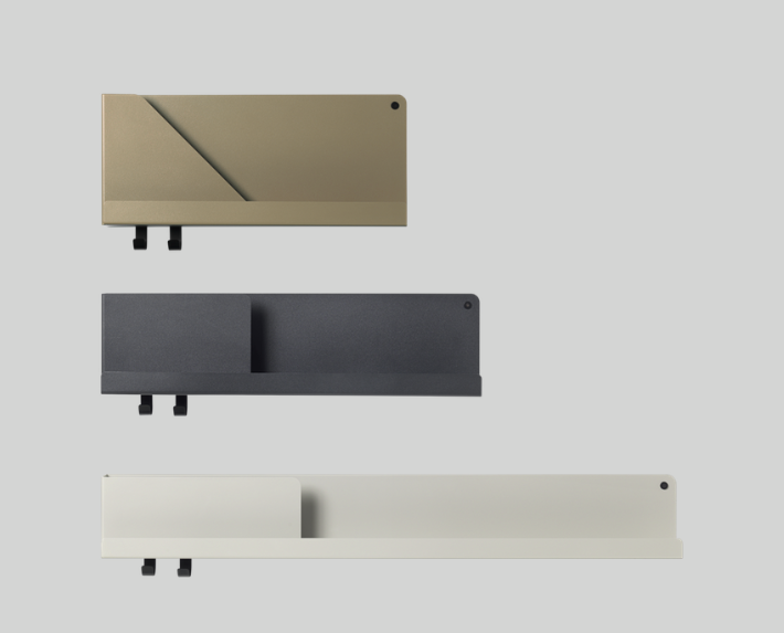 Minimalist shelves in grey, gold and white