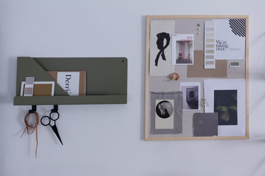 pinboard and muuto shelf