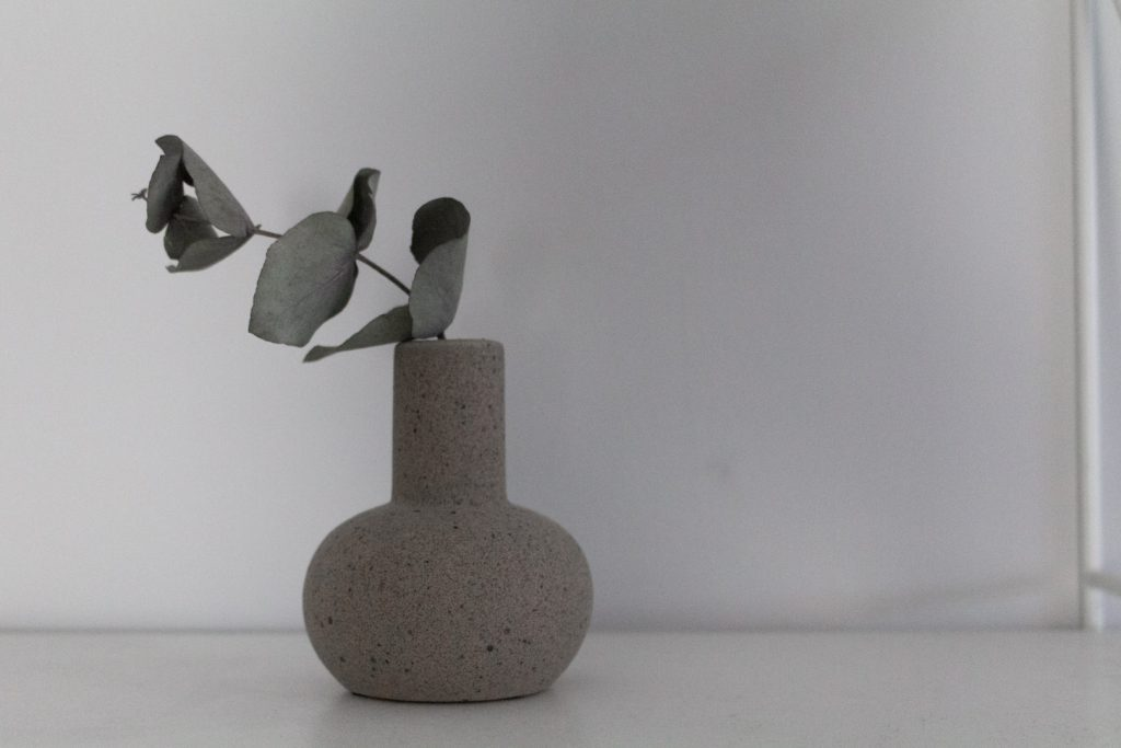 Beige vase on a grey background