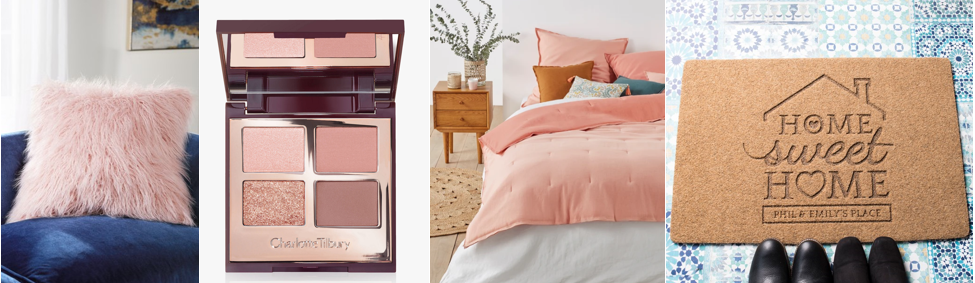 a pink fluffy cushion, a pink and brown eyeshadow set, a pink and white duvet set and a home sweet home welcome mat