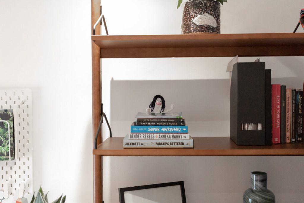 Image shows some wooden shelves with books on them, and a plastic spoon made to look like AJ