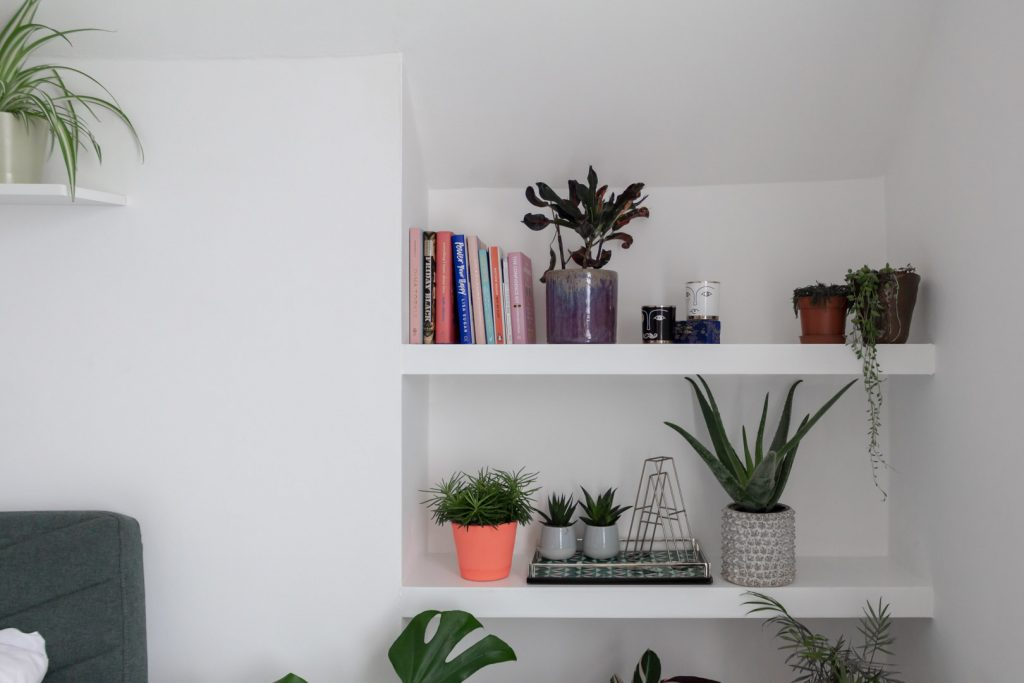 Image shows white shelves with a collection of books and ceramics on them