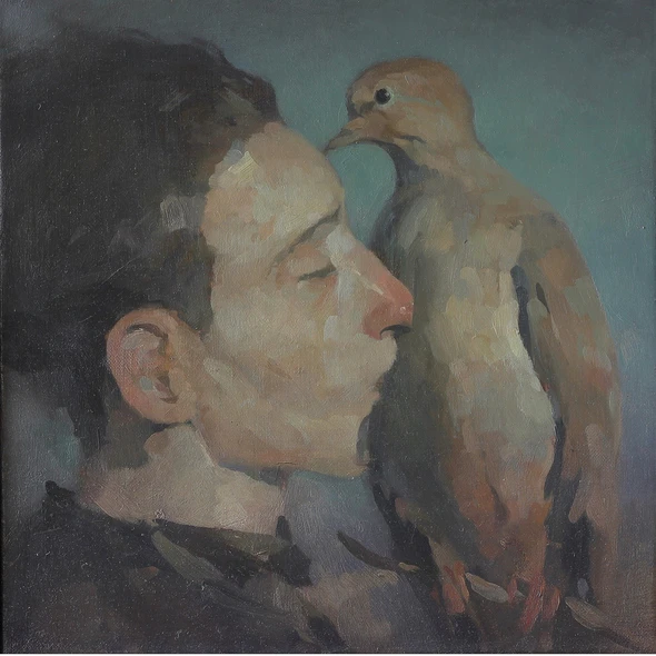 An oil painting of a man kissing a dove