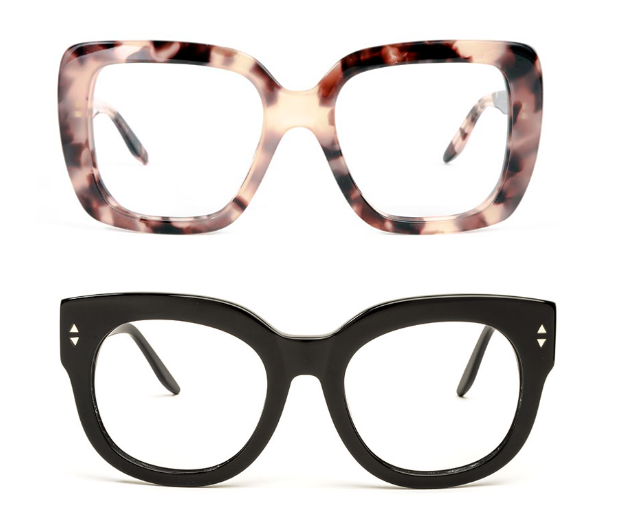 a pair of 70s square tortoiseshell glasses and some thick framed black glasses