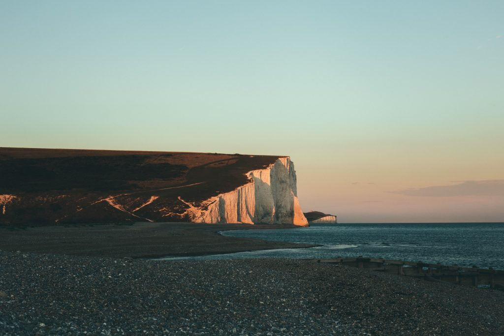 White chalk cliffs at sunset