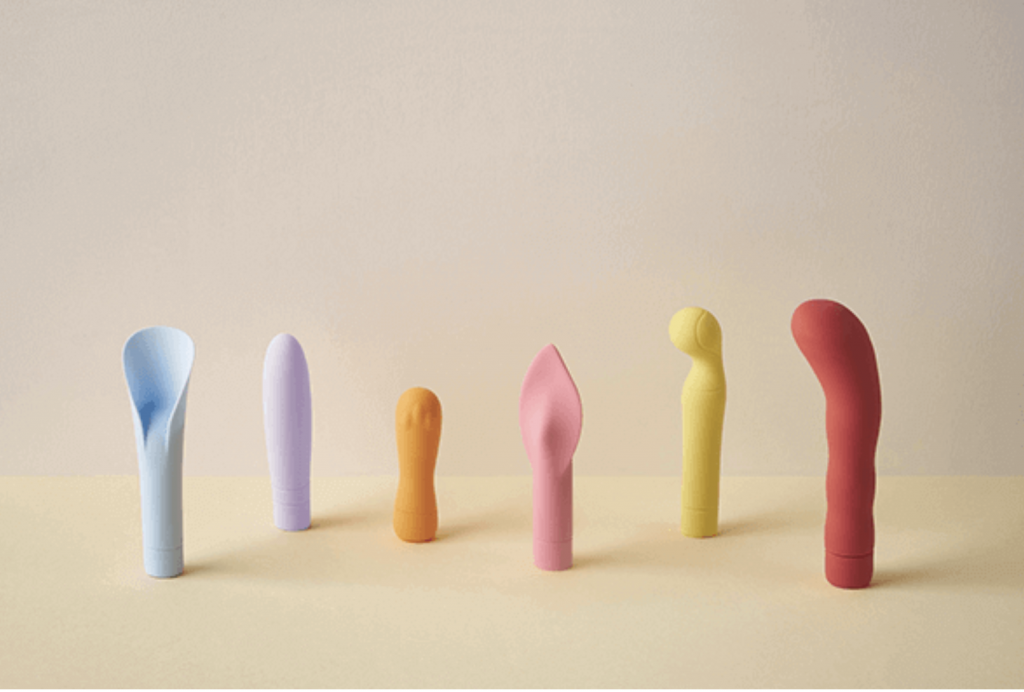 a variety of multi coloured vibrators in different shapes and colours.
