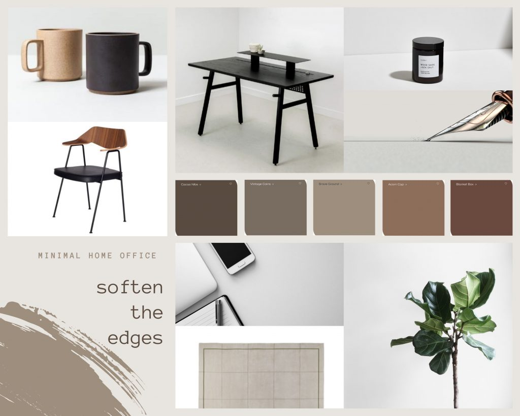 Moodboard of a minimal office space using Brave Ground