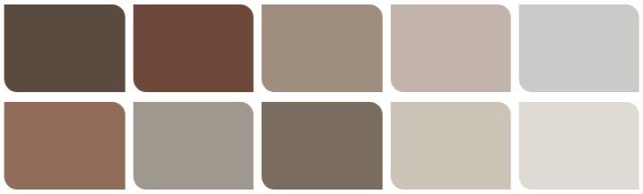 A colour swatch of various browns and greiges, ranging from reddy rust to almost-grey and back again