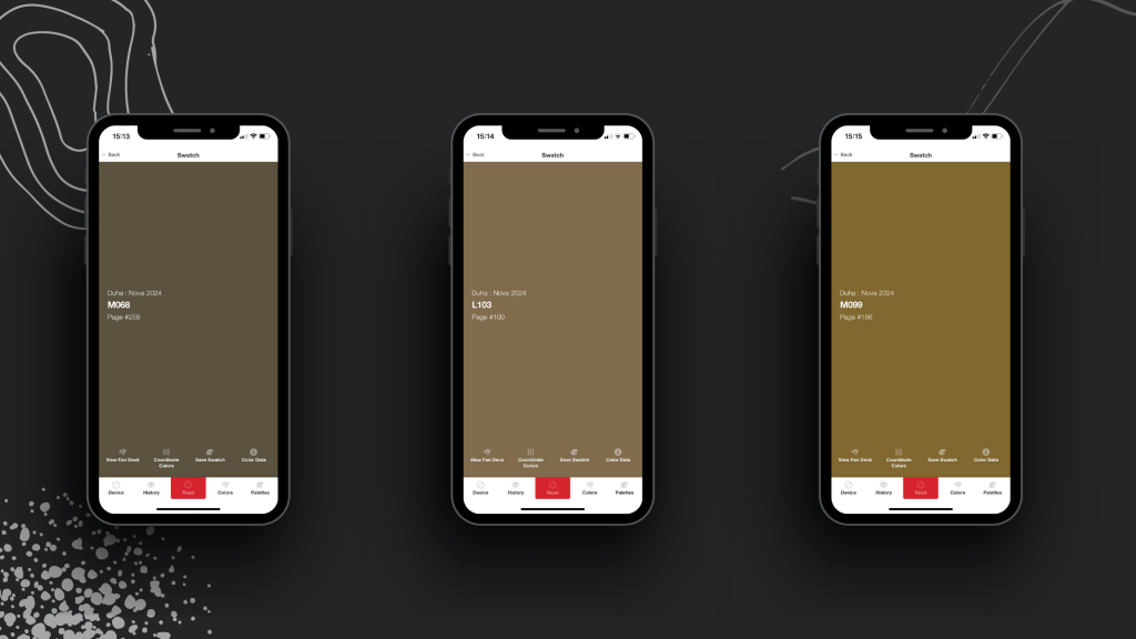 Three mobile phones on a textured black background. Each screen shows a different shade of mossy green or brown