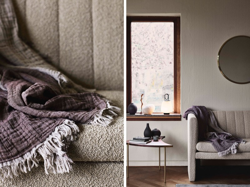 A split image of the Hay blanket on a boucle sofa and thrown over the arm of a white armchair