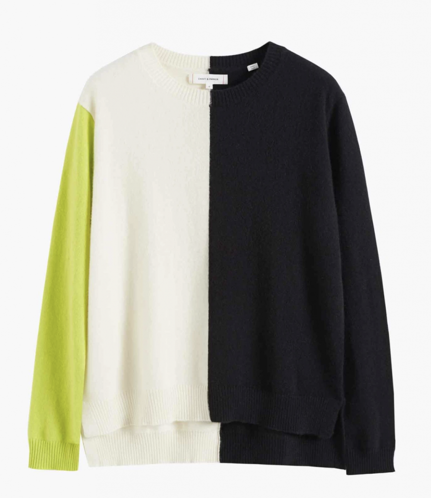 a round neck jumper in colour block black, cream and neon green