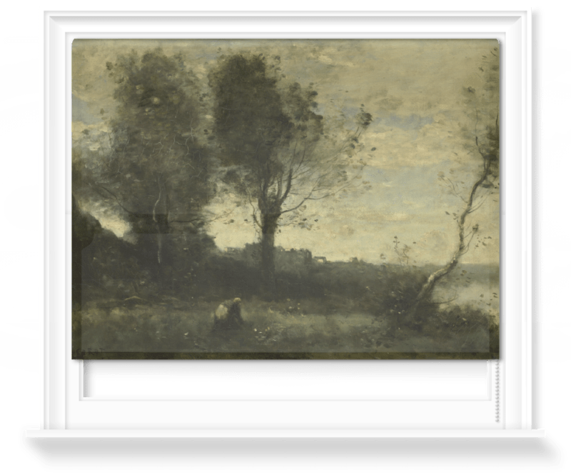 a window with a rollerblind printed with the image of an old painting of a riverbank and trees with people in the foreground