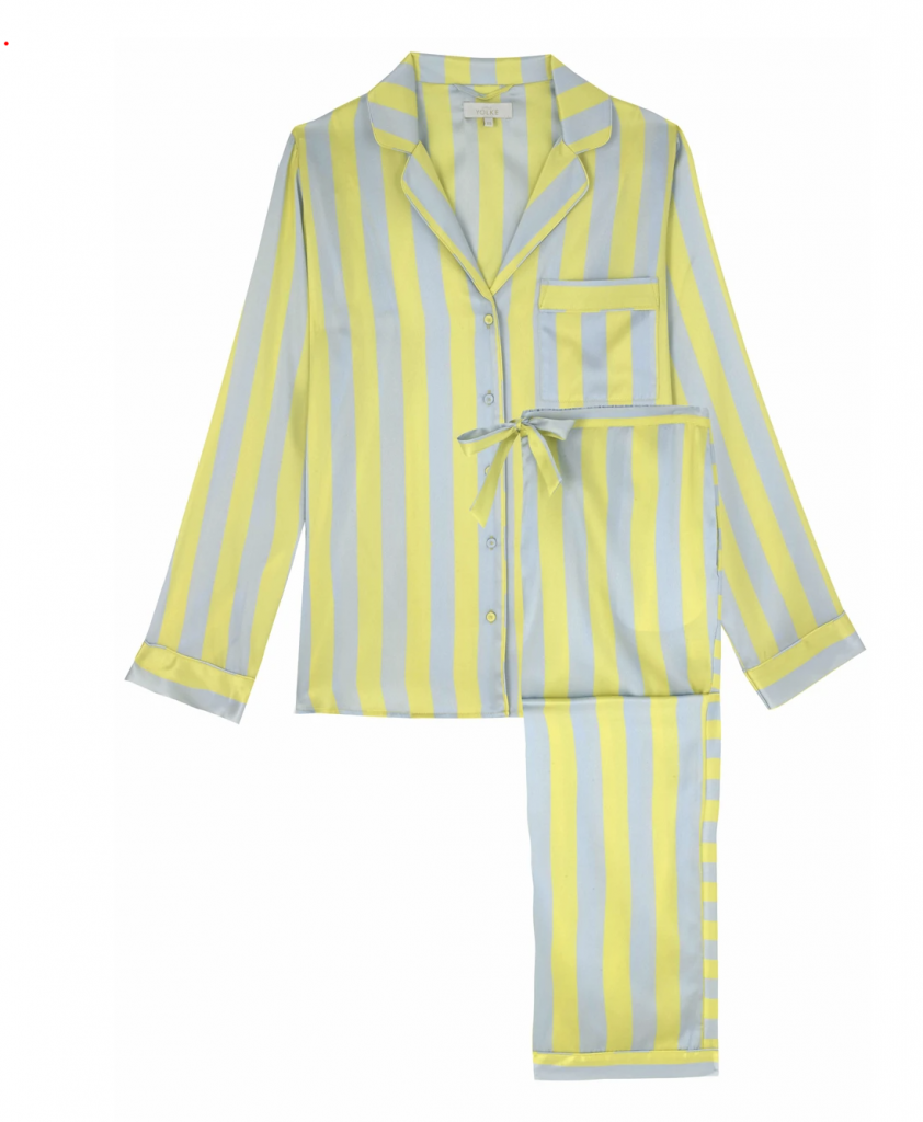 a striped pair of silk pyjamas in yellow and blue