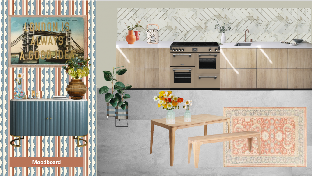 A moodboard for a kitchen. A kitchen with light wood units and a marble worktop. There a veined tiles in a herringbone pattern on the wall behind and an orange vase plus a Dalmatian print kettle. There is a oak dining table and bench style seating with vases of poppies on top. The concrete floor has a peach persian rug on it. There is a chevron striped wallpaper on the wall and a blue sideboard with vases and flowers on top. a print with tower bridge is hung on top of it