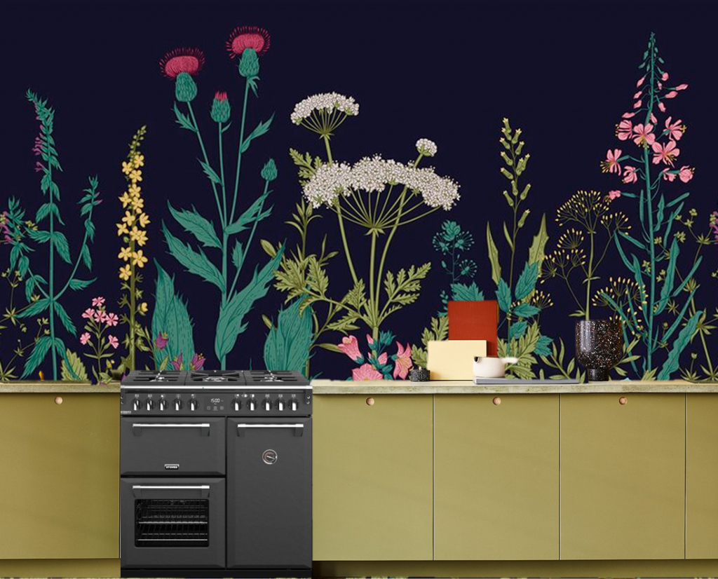 a moodboard for a kitchen. There is a large floral mural behind a pea green kitchen. There are thistles and foxgloves and cow parsley and dandelions. There's a grey range booked in the middle of the scene