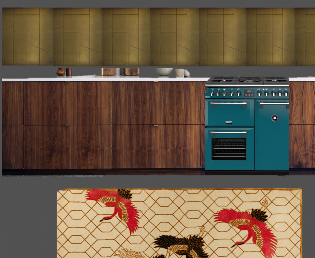a moodboard for a kitchen. A brass splashback has cream bowls in front on it on a white worktop. There are walnut doors on the kitchen and a teal stove sits at the centre. On the floor there is a cream patterned rug with cranes on it