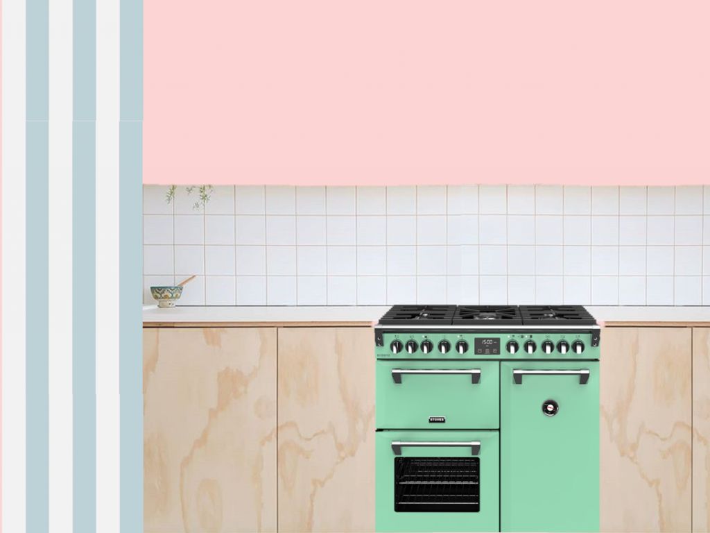 a mmodboard for a kitchen. A mint green range sits in a light wood kitchen with a white worktop. A white and blue striped wallpaper is to the left of the range and there is a pink wall above. There are white tiles in a gridpaper pattern behind